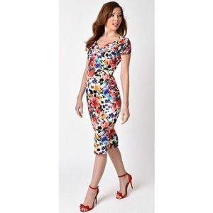 1950s Blossoming Floral St. Pierre Wiggle Dress